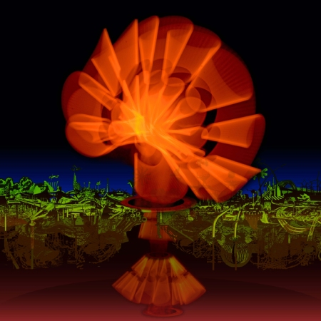 Árbol de la Vida. Paisaje occidental /  Fisiográfica y collage digital impreso sobre vinilo adhesivo y pegado sobre dibón acabado espejo / 100 x 100 cm. / Obra inédita / 2013