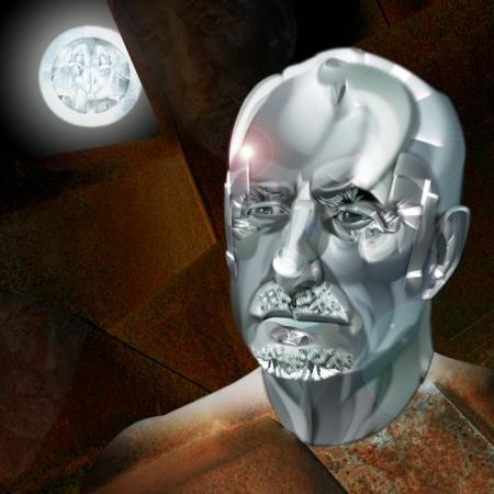 Nassio Bayarri. Escultor / Fisiográfica y collage digital impreso sobre vinilo adhesivo y pegado sobre dibón acabado espejo / 100 x 100 cm / 2009.