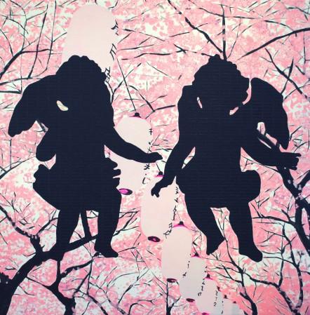 6 Sakura angels 150x150cm