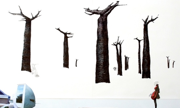 "Baobabs.  fragmento de la pieza ""Space trash, country houses and walking trees"" 180 x 200 cm"