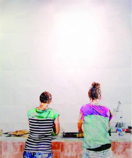 Lo importante es con quién compartes el plato, no de qué está lleno IX / rotuladores, marcadores fluorescentes, lápices de color sobre papel y grafito sobre papel / 263 x 210 cm / 2012